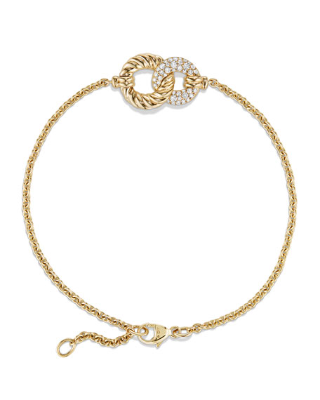 Belmont Single Station Bracelet with Diamonds in 18K Yellow Gold