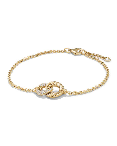 Belmont Single Station Bracelet with Diamonds in 18K Yellow Gold