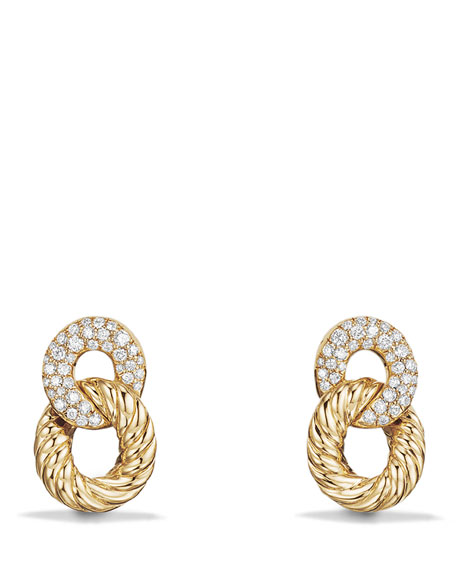 16.5mm Belmont Link Earrings with Diamonds in 18K Yellow Gold