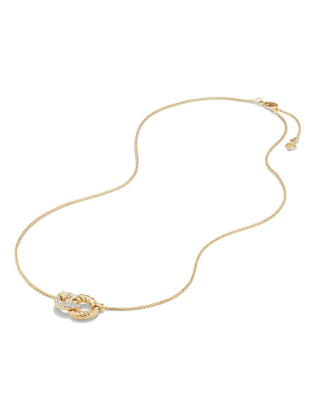 Belmont Extra-Small 18K Yellow Gold Double-Link Necklace with Diamonds
