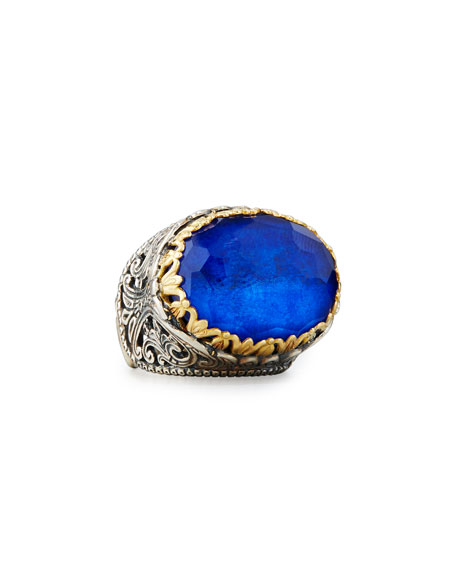 East-West Oval Crystal Quartz Over Lapis Ring