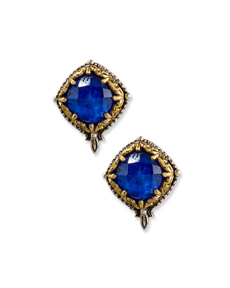 Faceted Crystal Quartz Over Lapis Button Earrings