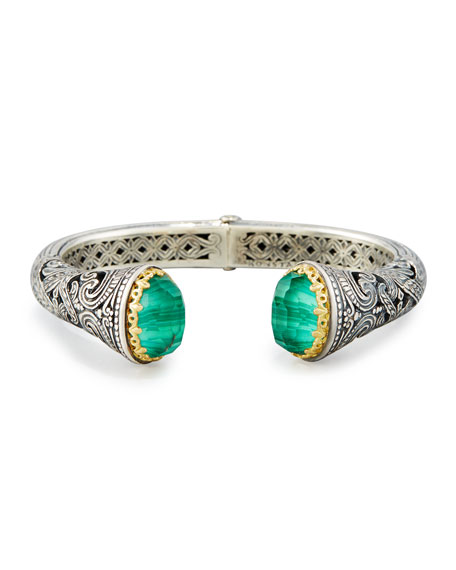 Hinged Green Crystal Quartz Over Malachite Cuff Bracelet