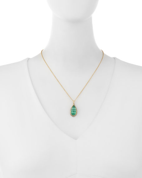 Faceted Green Crystal Quartz Over Malachite Teardrop Pendant Necklace