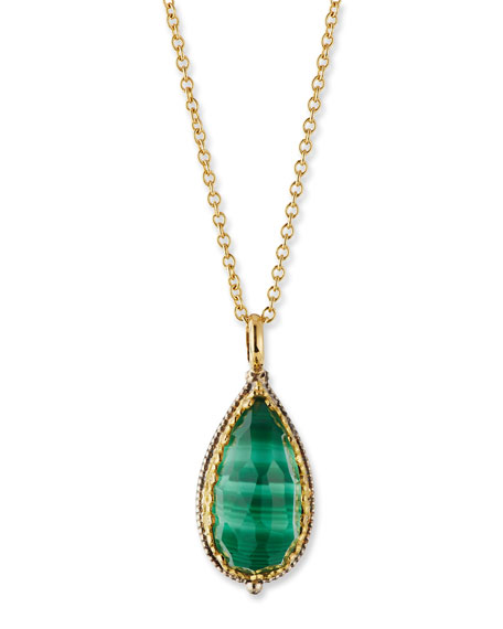 Konstantino Faceted Green Crystal Quartz Over Malachite Teardrop