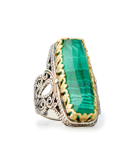 Konstantino Faceted Green Crystal Quartz Over Malachite Cocktail