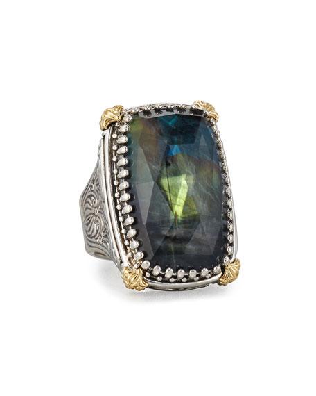 Crystal Quartz Over Spectrolite Ring in Carved Sterling Silver