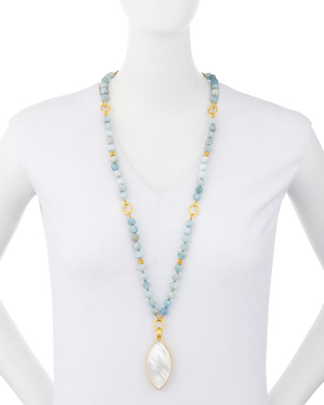 Beaded Aquamarine Necklace w/Marquis Pendant