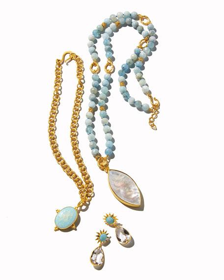 Beaded Aquamarine Necklace w/Marquis Pendant