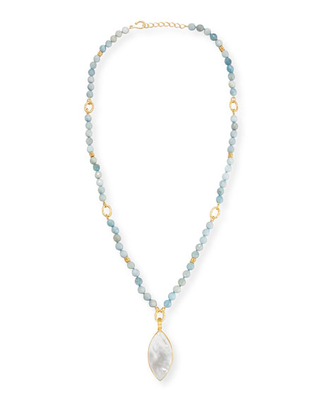 Dina Mackney Beaded Aquamarine Necklace w/Marquis Pendant