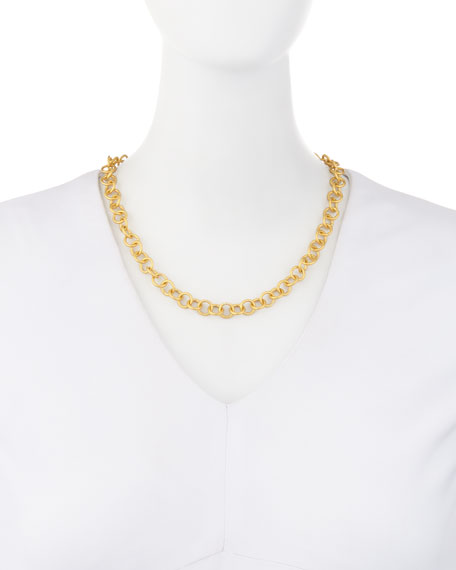 Adjustable 18K Gold-Plated Chain Necklace, 18""