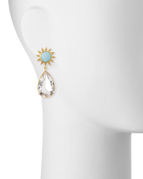 Opal & Rock Crystal Drop Earrings