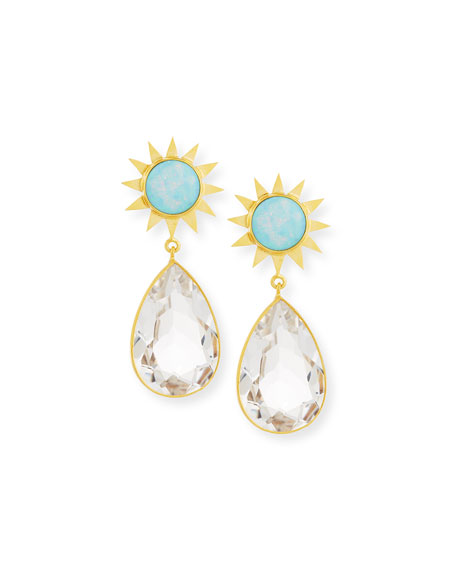Opal & Rock Crystal Drop Earrings