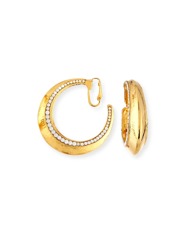 Jose & Maria Barrera Beaded Golden Clip-On Hoop Earrings a98iA3Y40