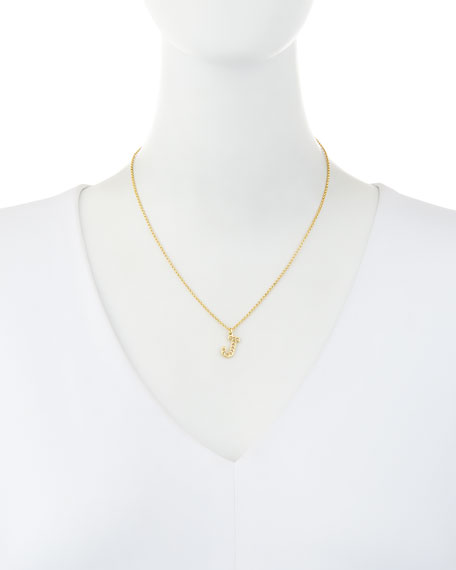 Pavé Diamond Initial Pendant Necklace in 14K Gold