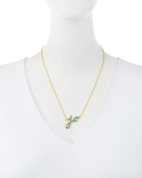 Turquoise Initial Pendant Necklace in 14K Gold