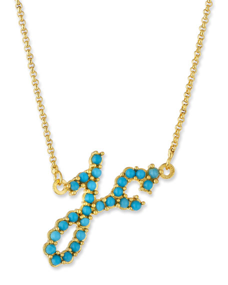 Jennifer creel turquoise initial pendant necklace in 14k gold aloadofball Choice Image