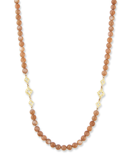 """Old World Long Beaded Moonstone Scroll Necklace, 36""""L"""