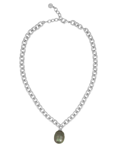 Chain Necklace with Gray Pearly Charm