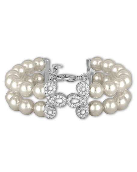 Majorica Two-Row Pearly Bead Bracelet, White