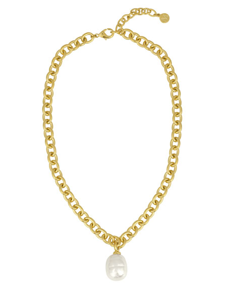 Majorica Golden Chain Necklace with Pearly Charm