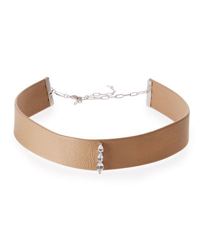 Ivy Arabella White Sapphire & Leather Choker Necklace