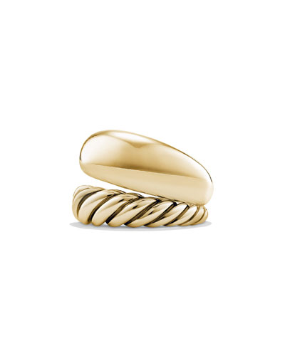 17mm Pure Form Two Row Ring in 18K Gold, Size 7