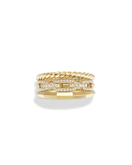 Stax Narrow Ring with Diamonds in 18K Gold, Size 6