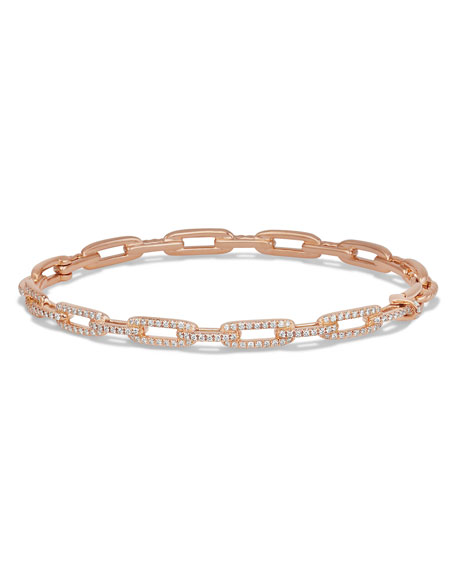 Stax Chain Link Bracelet in 18k Rose Gold w/ Diamonds
