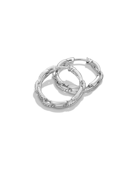 Stax Diamond Chain Link Earrings in 18K White Gold