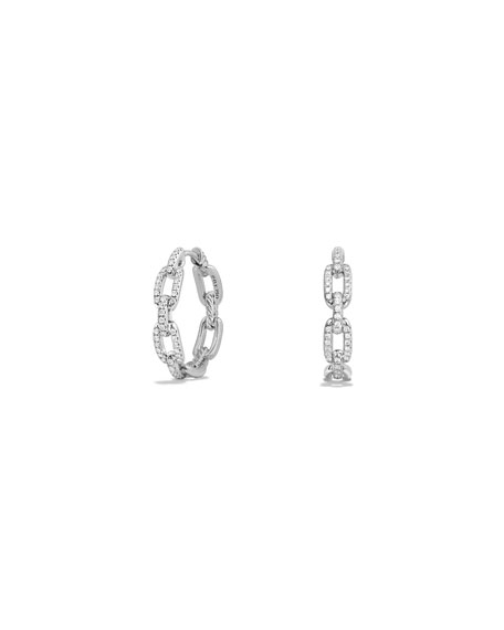 Stax Diamond Chain Link Earrings in 18K White Gold