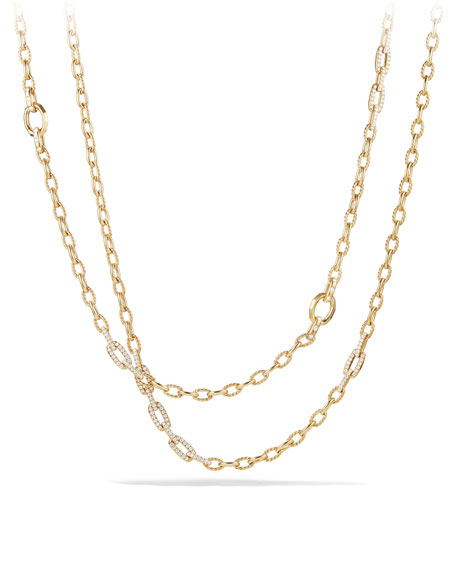 Convertible Chain Necklace/Bracelet with Diamonds in 18K Yellow Gold