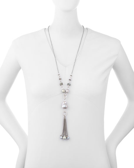 """Pearl Tassel Chain Necklace, 29"""""""