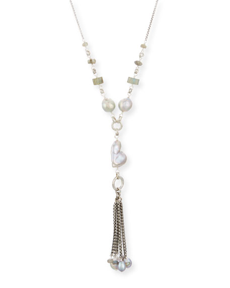 Pearl Tassel Chain Necklace, 29""