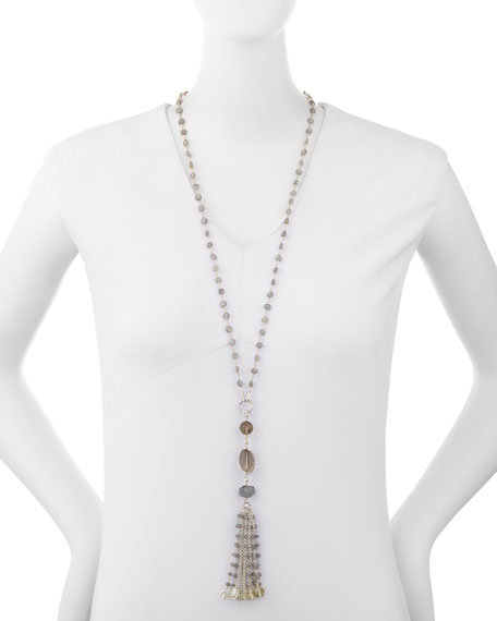 Labradorite & Quartz Tassel Chain Necklace
