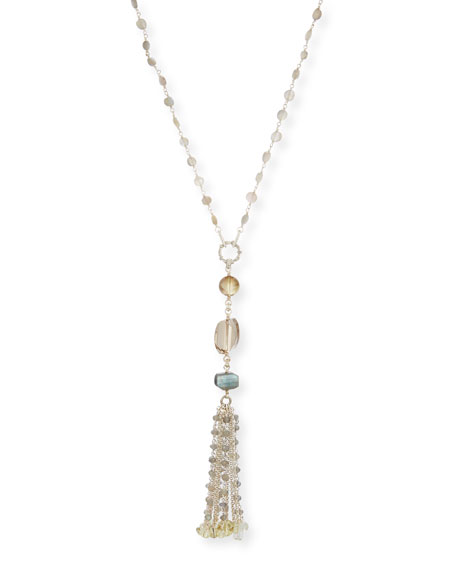 Stephen Dweck Labradorite & Quartz Tassel Chain Necklace