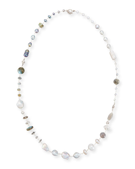 Mixed Bead & Pearl Necklace, 34""