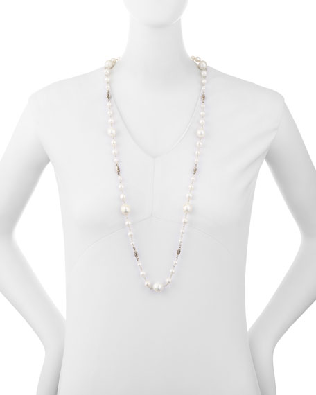 """Graduated Pearl Single-Strand Necklace, 34"""""""