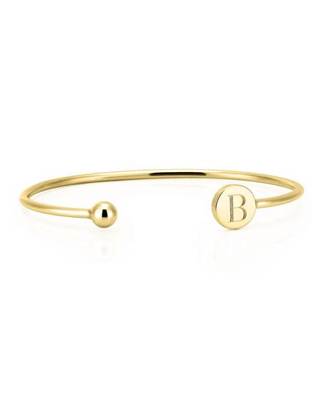 Sarah Chloe Elle Round Initial Bangle Bracelet