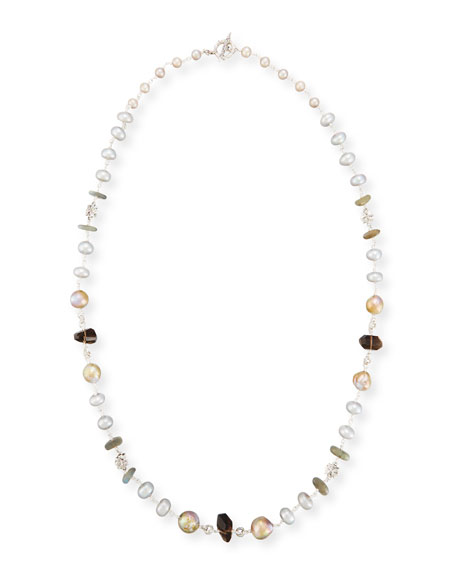 Labradorite, Smoky Quartz & Pearl Necklace, 32""