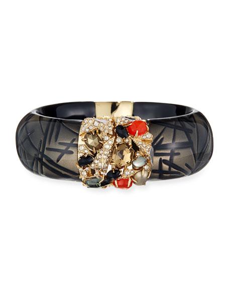 Alexis Bittar Crystal-Encrusted Mosaic Futurist Hinge Bracelet