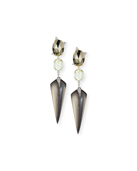 Alexis Bittar Mosaic Futurist Spike Drop Earrings, Gray