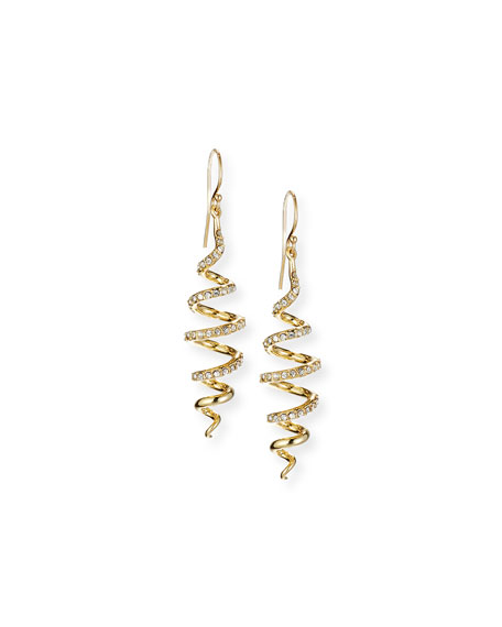 Coiled Crystal Wire Drop Earrings