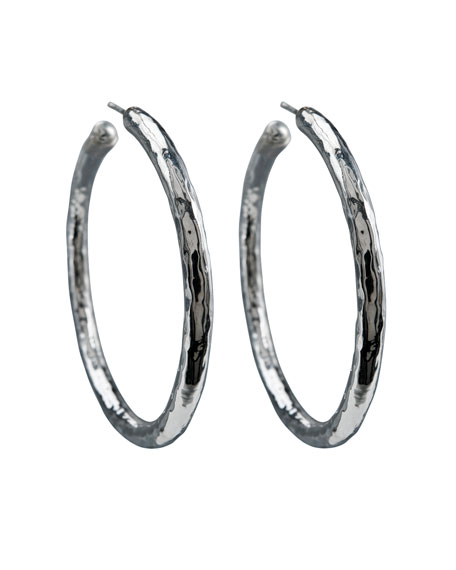 925 Glamazon #4 Skinny Bastille Hoop Earrings