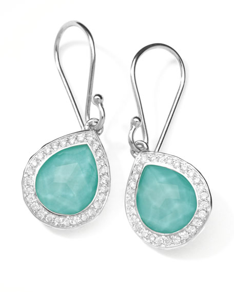 Rock Candy Teardrop Earrings in Turquoise Doublet with Diamonds, 28mm
