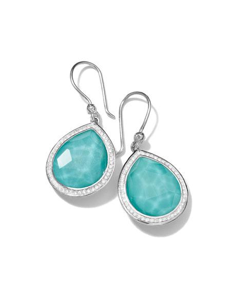 Rock Candy Diamond Quartz Teardrop Earrings, 34mm