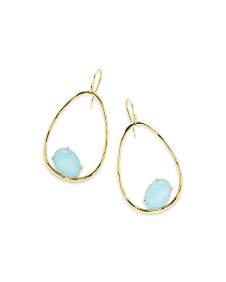 18K Rock Candy Tipped Oval Wire Earrings in Clear Quartz and Turquoise