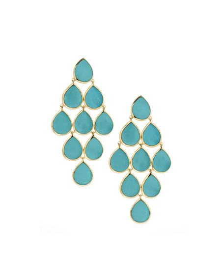 18k Rock Candy Cascade Earrings in Turquoise