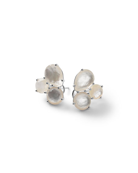 Silver Rock Candy Cluster Stud Earrings in Doublet