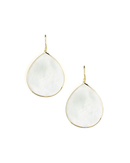 18k Giant Teardrop Slice Earrings in Mother-of-Pearl